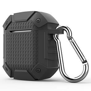 Draadloze oortelefoon schokbestendige Armor silicone beschermhoes voor Apple luchtpods 1/2  reguliere versie (zwart)