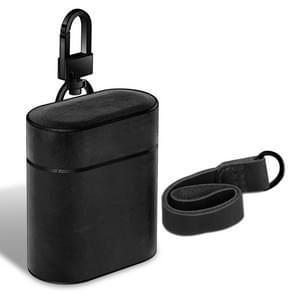 Draadloze oortelefoon schokbestendige echte lederen beschermhoes voor Apple luchtpods 1/2 (zwart)