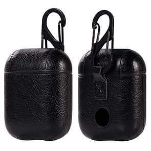 PU lederen draadloze Bluetooth oortelefoon beschermende case voor Apple AirPods 1/2  met metalen gesp (zwart)