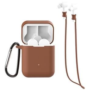 Voor Xiaomi Air 3 in 1 oortelefoon siliconen beschermhoes + anti-verloren touw + Hook Set (Koffie)