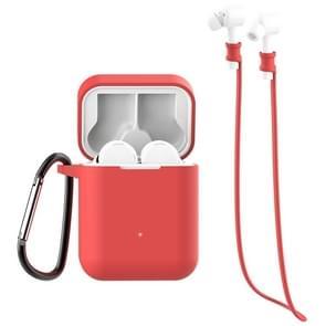 Voor Xiaomi Air 3 in 1 oortelefoon siliconen beschermhoes + anti-verloren touw + Hook Set (Rood)