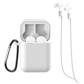 Voor Xiaomi Air 3 in 1 Oortelefoon Siliconen beschermhoes + Anti-lost Rope + Hook Set (Wit)