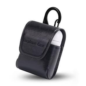 PU leer waterdichte anti-drop magnetische sluiting Bluetooth oortelefoon beschermhoes voor luchtpods  met haak (zwart)