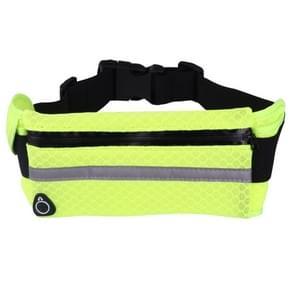 Multifunctionele Outdoor Mesh ademende stof taille Sporttas met nacht reflecterende Strip & oortelefoon gat voor iPhone  Samsung  Sony en andere telefoons (voor Less Than 6 inch)(Green)