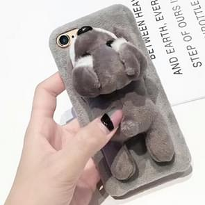 For iPhone 6 & 6s Cute Plush Animal Dolls Protective Back Cover Case (Grey)