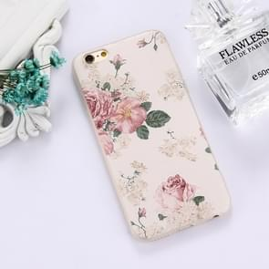 For iPhone 6 & 6s TPU Frosted Embossed Peony Flowers Pattern Protective Case Back Cover