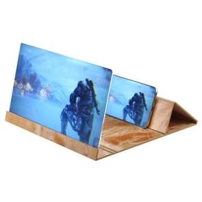 12.0 inch Universal Foldable Portable Wood + Organic Glass Eyeshield 3D Video Mobile Phone Screen Magnifier Bracket Enlarge with Holder for All Smartphones, Size: 260*190*8mm