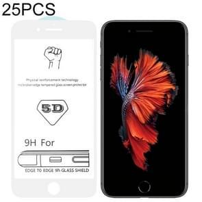 25 stuks 9H 5D witte volledige lijm volledig scherm gehard glas film voor iPhone 6/6s
