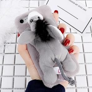 For iPhone 6 & 6s Fashion Plush Lovely Donkey Doll Toy Protective Back Cover Case (Grey)