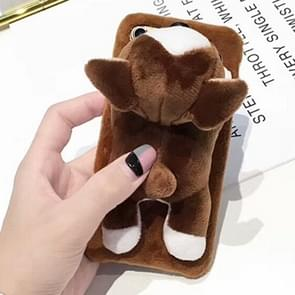 For iPhone 6 Plus & 6s Plus Cute Plush Animal Dolls Protective Back Cover Case (Brown)
