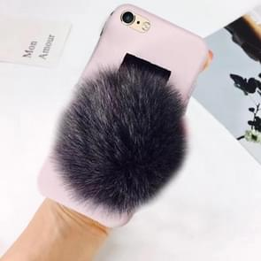 For iPhone 6 Plus & 6s Plus Furry Ball Wrist Band Full Coverage Protective Back Cover Case(Grey)