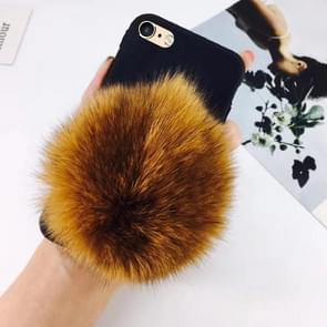 For iPhone 6 Plus & 6s Plus Furry Ball Wrist Band Full Coverage Protective Back Cover Case (Brown)