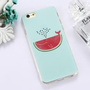 For iPhone 6 Plus & 6s Plus TPU Embossed Watermelon Whale Pattern Dropproof Protective Case Back Cover