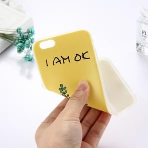 For iPhone 6 Plus & 6s Plus TPU Frosted Embossed I AM OK Word Potted Pattern Protective Case Back Cover