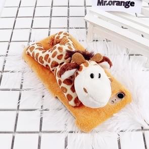 Voor iPhone 6 Plus & 6s Plus Fashion pluche mooie Giraffe Doll speelgoed back cover beschermhoes (geel)