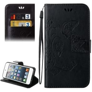 For iPod Touch 6 Crazy Horse Texture Printing Horizontal Flip Leather Case with Holder & Card Slots & Wallet & Lanyard(Black)