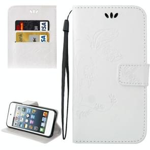 For iPod Touch 6 Crazy Horse Texture Printing Horizontal Flip Leather Case with Holder & Card Slots & Wallet & Lanyard(White)