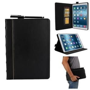 Bible Style Business Horizontal Flip Leather Case for iPad 9.7(2018) & 9.7(2017) & Pro 9.7 & Air2 & Air,  with Card Slots & Pen Slots & Photo Frame & Holder(Black)