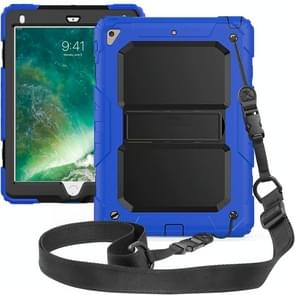 Shockproof PC + Silica Gel Protective Case for iPad 9.7 (2018), with Holder & Shoulder Strap (Blue)