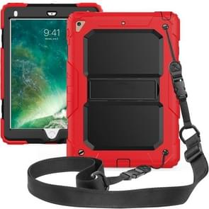 Shockproof PC + Silica Gel Protective Case for iPad 9.7 (2018), with Holder & Shoulder Strap (Red)