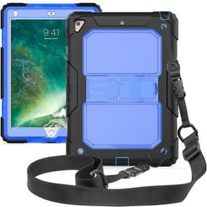 Shockproof Transparent PC + Silica Gel Protective Case for iPad 9.7 (2018), with Holder & Shoulder Strap (Blue)