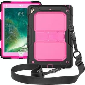 Shockproof Transparent PC + Silica Gel Protective Case for iPad 9.7 (2018), with Holder & Shoulder Strap (Rose Red)