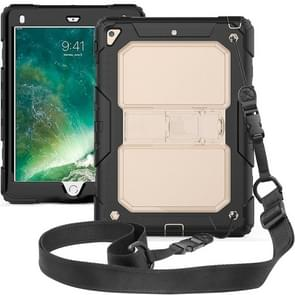Shockproof Transparent PC + Silica Gel Protective Case for iPad 9.7 (2018), with Holder & Shoulder Strap (Transparent)