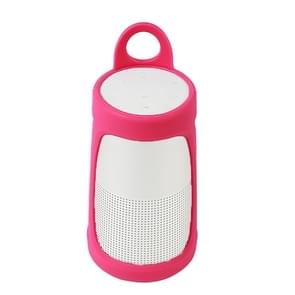 Portable Silica Gel Bluetooth Speaker Protective Case for BOSE Soundlink Revolve+ (Rose Red)