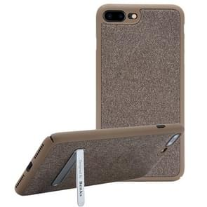 Benks for iPhone 8 Plus & 7 Plus   Business Style Magnetic PC Denim Protective Case Back Cover with Holder(Coffee)