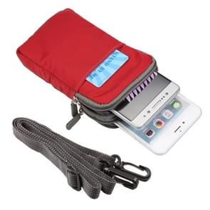 Universele Multi-function Plaid textuur dubbele laag rits taille Sporttas / schoudertas voor iPhone X & 7 & 7 Plus / Galaxy S9 PLUS / S8 PLUS / Opmerking 8 / Sony Xperia Z5 / Huawei Mate 8  formaat: 16 5 x 9.0 x 3.0cm(Red)