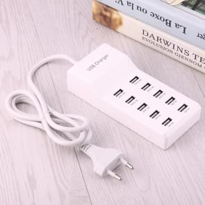 5V 2.4A/2.1A/1A 10-Port USB Charger Adapter, For iPhone, Galaxy, Huawei, Xiaomi, LG, HTC and other Smartphones, Rechargeable Devices, EU Plug(White)