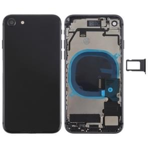 Battery Back Cover Assembly with Side Keys & Vibrator & Loud Speaker & Power Button + Volume Button Flex Cable & Card Tray for iPhone 8(Black)