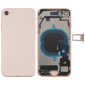 Battery Back Cover Assembly with Side Keys & Vibrator & Loud Speaker & Power Button + Volume Button Flex Cable & Card Tray for iPhone 8(Rose Gold)