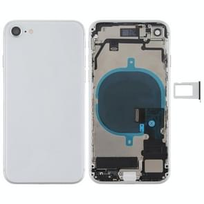 Battery Back Cover Assembly met Side Keys & Vibrator & Loud Speaker & Power Button + Volume Button Flex Cable & Card Tray voor iPhone 8(zilver)