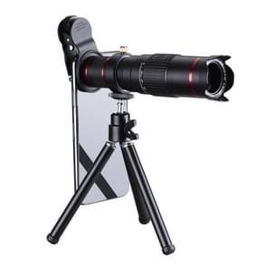 Universele 22 X telescoop Tele Camera zoomlens met statief Mount & mobiele telefoon Clip  voor iPhone  Galaxy  Huawei  Xiaomi  LG  HTC en andere Smart Phones (zwart)