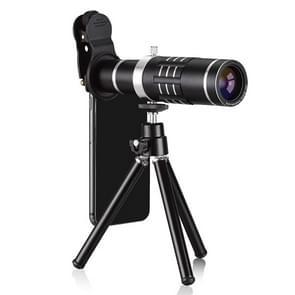 Universele 18 X Zoom telescoop tele cameralens met statief Mount & mobiele telefoon Clip  voor iPhone  Galaxy  Huawei  Xiaomi  LG  HTC en andere Smart Phones (zwart)