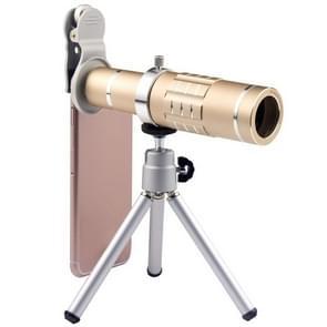 Universele 18X zoom telescoop Telephoto camera lens met statief mount & mobiele telefoon clip  voor iPhone  Galaxy  Huawei  Xiaomi  LG  HTC en andere smartphones (goud)