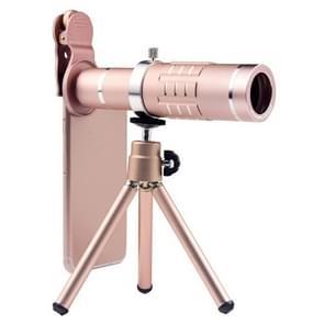 Universele 18X zoom telescoop Telephoto camera lens met statief mount & mobiele telefoon clip  voor iPhone  Galaxy  Huawei  Xiaomi  LG  HTC en andere smartphones (Rose Gold)