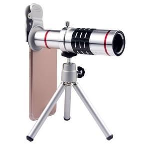 Universele 18X zoom telescoop Telephoto camera lens met statief mount & mobiele telefoon clip  voor iPhone  Galaxy  Huawei  Xiaomi  LG  HTC en andere smartphones (zilver)