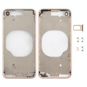 Transparante achterkant met cameralens & simkaartlade & zijsleutels voor iPhone 8 (Goud)