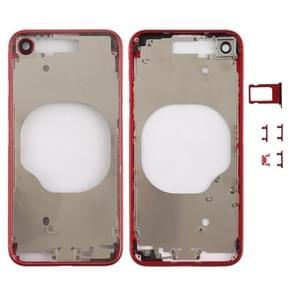 Transparante achterkant met cameralens & simkaartlade & zijtoetsen voor iPhone 8 (Rood)