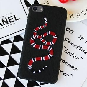 Black Background Embroidery Red Snake Pattern PU Soft Protective Case for iPhone 8 & 7