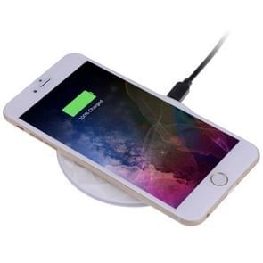 DC5V Input Diamond Qi standaard snel opladen draadloze lader  kabel lengte: 1m  voor iPhone X & 8 & 8 Plus  Galaxy S8 & S8 PLUS  Huawei  Xiaomi  LG  Nokia  Google en andere slimme Phones(White)