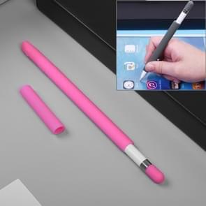 Voor Apple potlood creatieve 4 in 1 anti-verloren (potlood potlood punt  Cap + 2 * pennenbak Cover) TouchPen siliconen beschermende Set(Magenta)