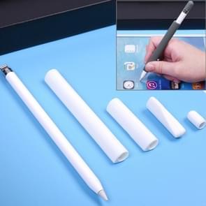 Voor Apple potlood creatieve 4 in 1 anti-verloren (potlood potlood punt  Cap + 2 * pennenbak Cover) TouchPen siliconen beschermende Set(White)