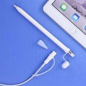 Voor Apple Pencil / iPad Pro 3 in 1 anti-verloren (potlood Cap + potlood punt + Adapter) TouchPen siliconen beschermende Set(Transparent)
