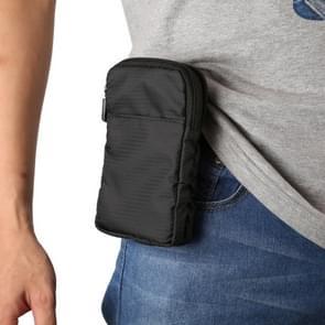 Multi-functie Casual Sport GSM dubbele rits taille Pack diagonale tas voor 6 9 Inch of onder Smartphones (zwart)