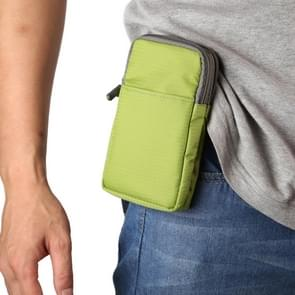 Multifunctionele casual sport mobiele telefoon dubbele rits taille pack diagonale tas voor 6 9 inch of onder smartphones (groen)