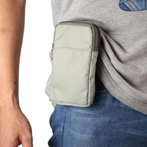 Multifunctionele casual sport mobiele telefoon dubbele rits taille pack diagonale tas voor 6 9 inch of onder smartphones (lichtgrijs)