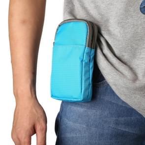 Multifunctionele casual sport mobiele telefoon dubbele rits taille pack diagonale tas voor 6 9 inch of onder smartphones (Baby Blue)